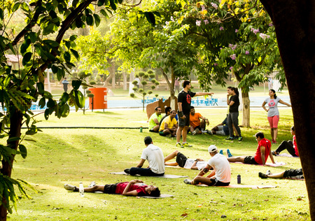 gurgaon: Gurgaon India 23rd May 2015: Young people enjoying an exercise class with yoga mats at the park in the morning. A lot of informal classes have started due the growing fitness trend and greater awareness of health