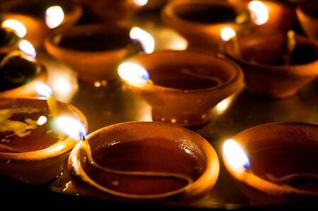 earthenware: earthenware lamps traditionally used for decoration on the hindu festival of Diwali.
