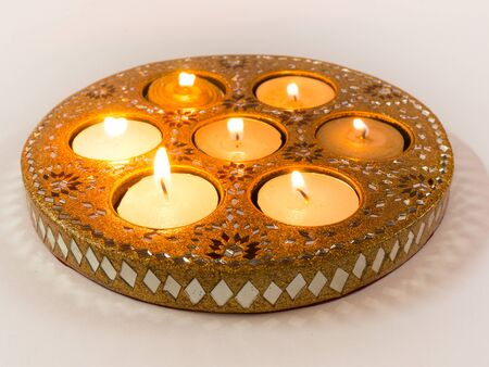diyas: Isolated diyas handmade lamps used in the decoration of indian homes on the hindu festival of Diwali