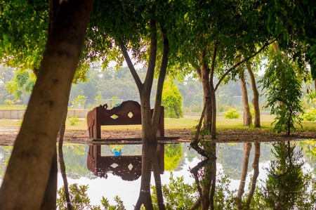 gurgaon: Trees with a park bench nearby getting reflected in a pond. Shows the beauty of rural india