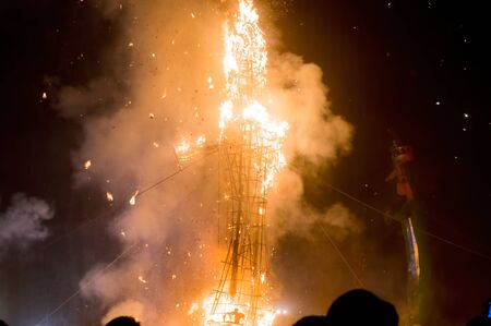 gurgaon: Effigy of ravan being burnt on the hindu festival of dussera. This is celebrated annualy to mark the killing of the evil ravan at the hands of lord Ram
