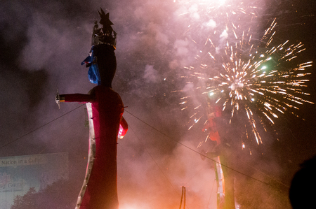 effigy: Effigy of ravan being burnt on the hindu festival of dussera. This is celebrated annualy to mark the killing of the evil ravan at the hands of lord Ram