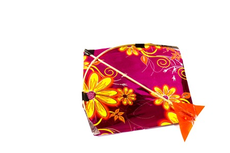 papalote: Colorful indian fighting kite isolated on white. Very popular in the sport of kite fighting