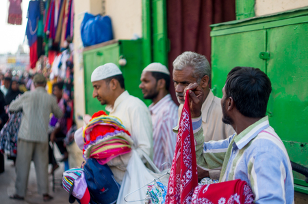 hyderabad: Hyderabad, Telangana, India, 28th Feb 2016: Street vendors selling in the old city of hyderabad near Charminar. A popular shopping area for people Editorial