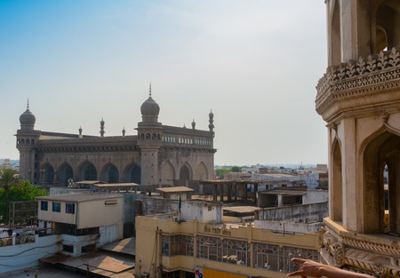 hyderabad: Hyderabad, Telangana, India, 28th Feb 2016: View of the Makkah masjid mosque from Charminar in Hyderabad. This is a famous landmark in the old city Editorial