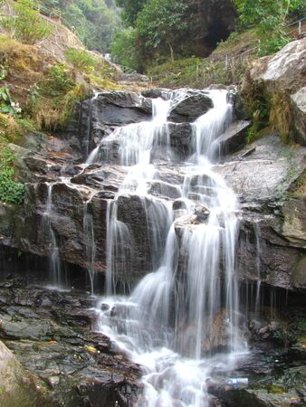 rivulet: Water fall captured with slow shutter speed in the Himalayas flowing into a beautiful pond