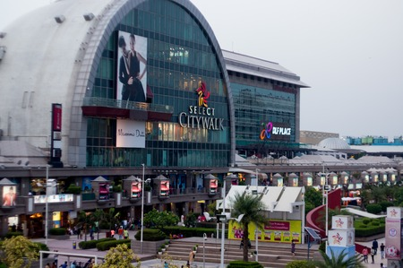 testify: Delhi, India - 29th May 2016: Outside view of the famous Select Citywalk shopping mall in Saket, Delhi. The huge crowds testify the popularity of these shopping places