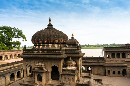 indore: Exterior shots of the scenic tourist landmark Maheshwar fort in Madhaya pradesh in India. This monument on the banks of the narmada houses many temples