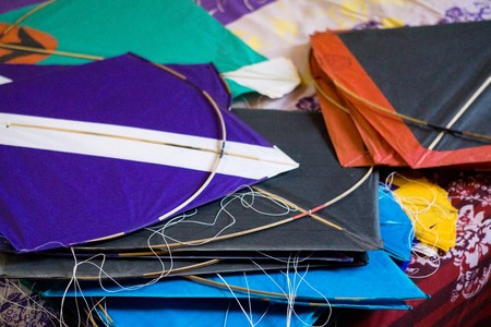 paper kites: paper kites prepared for the sport of kite fighting. This is a popular sport in Rajasthan and gujrat during makar sankranti and uttarayan