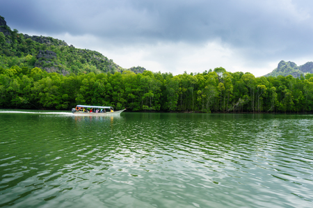 geoforest: Speed boat sailing through beautiful landscape in Langkawi