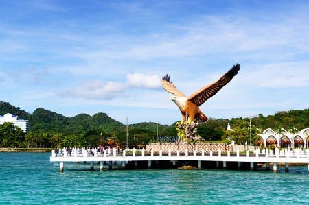 Shot of Langkawis Eagle Square from the sea 免版税图像 - 84641696