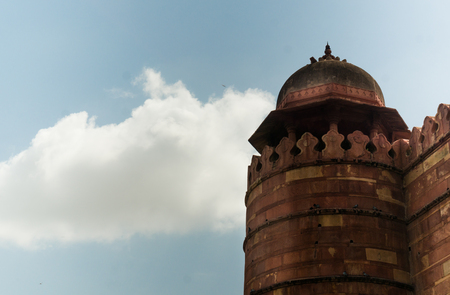 Sandstone Chhatri set in the fortification walls in fatehpur Sik Stock Photo