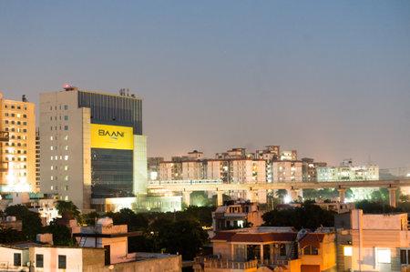 Gurgaon buildings at night
