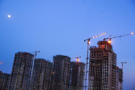 Under construction building in Delhi at Dusk