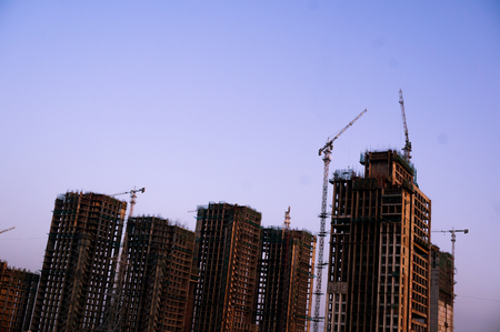 Under construction building in Delhi at Dusk