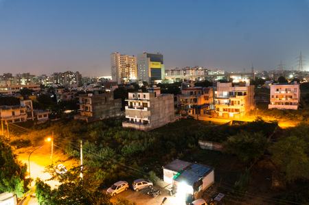 Gurgaon cityscape at night with beautiful lights Editorial
