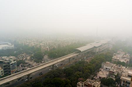 Smog over the city of Noida, Delhi, Gurgaon 版權商用圖片