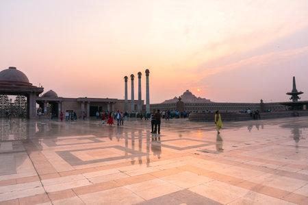 Wide Angle shot of Ambedkar Park Lucknow at dusk
