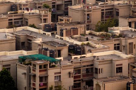 Concrete modern residential houses in Delhi Noida