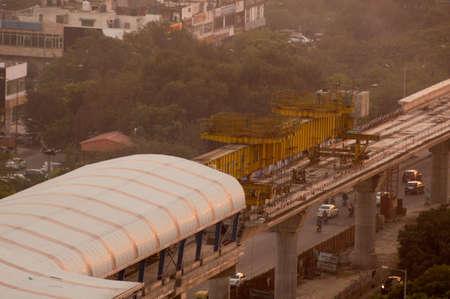 Aerial shot of metro track laying machine