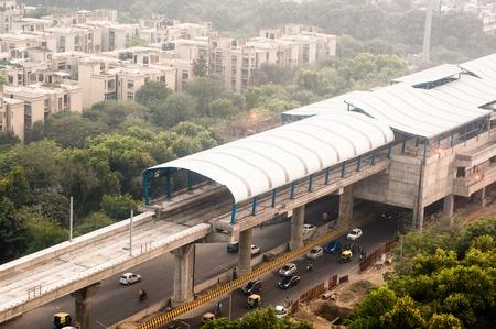 Under construction overhead metro station over street