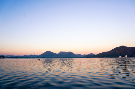 Dawn shot of Fateh Sagar lake udaipur India