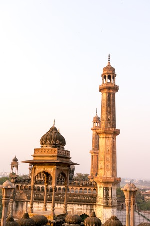 Vertical shot of dome and spires of a mosque Stock Photo
