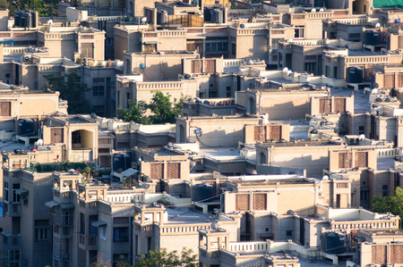 concrete  residential houses packed closely together Stock Photo
