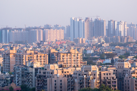 Cityscape in an indian city with concrete buildings and skyscrap Stock Photo