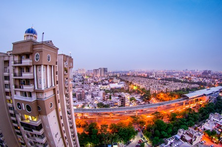 Noida cityscape during dusk blue hour