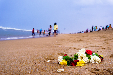 garland of flowers on a beach in chennai
