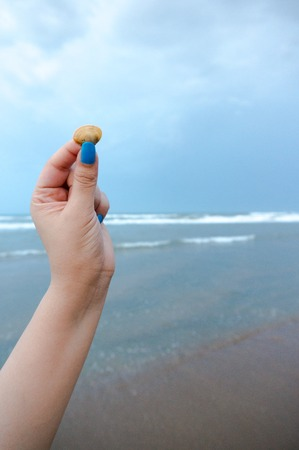 lady with blue painted nails holding a seashell on a beach