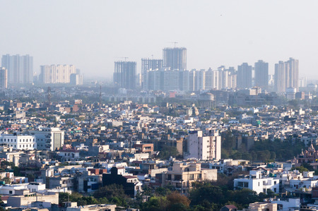 Cityscape with houses, offices and sky scrapers in noida delhi Stock Photo