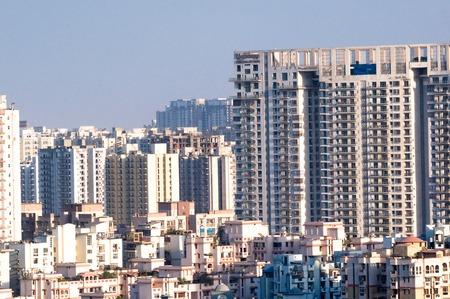 Aerial shot of skyscrapers houses offices in noida delhi gurgaon