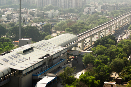 Aerial shot of delhi metro station with solar panels installed