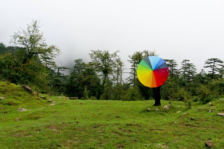 Young indian girl with face hidden holding a colorful umbrella in a foggy feild with fog Stock Photo