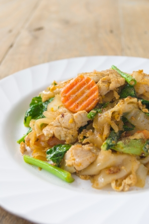 fired thin noodles with soy sauce   Thai food  photo