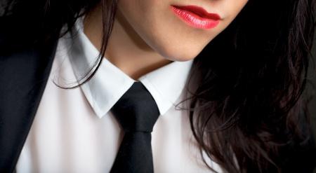 uniformes de oficina: Retrato de una mujer sexy con un empate