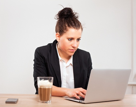 Portrait of a busy executive using her laptop to browse the Internet Stock Photo - 13296206