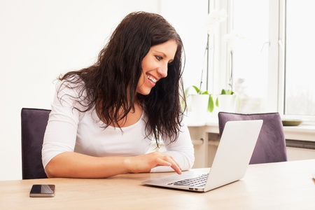 Portrait of a cheerful woman chatting online using a laptop Stock Photo - 13296210