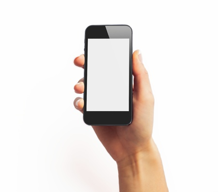 computer message: Black smartphone in hand with empty screen