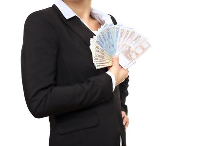 Banker in black business suit holding Euro bills Stock Photo - 17353385