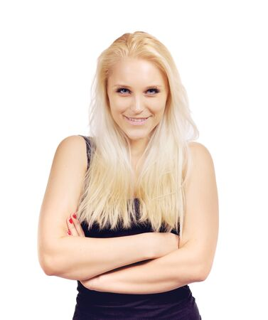 Portrait of an attractive blonde woman over white background photo