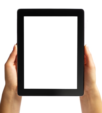 Digital tablet with blank screen in hand isolated in white background photo