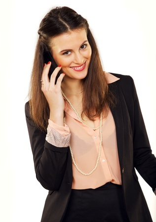 Cheerful young entrepreneur on a business call Stock Photo - 19146026