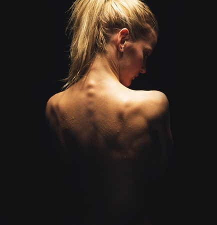 nude back: Sexy portrait of a nude woman showing her back Stock Photo