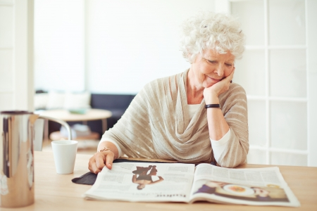 Elegant grandmother sitting at home reading a magazine Stock Photo - 21000367