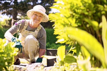 Happy elder woman with gardening tool working in her backyard garden
