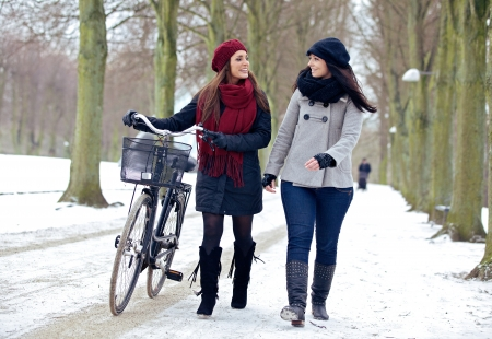 Two friends enjoying time together while walking in a winter park photo