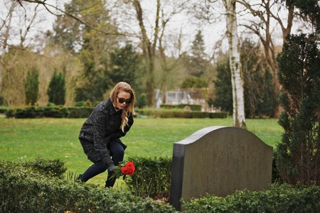grieving: Young woman placing flowers on the grave of a deceased family member at cemetery. Young lady at the cemetery paying respects with fresh roses. Stock Photo